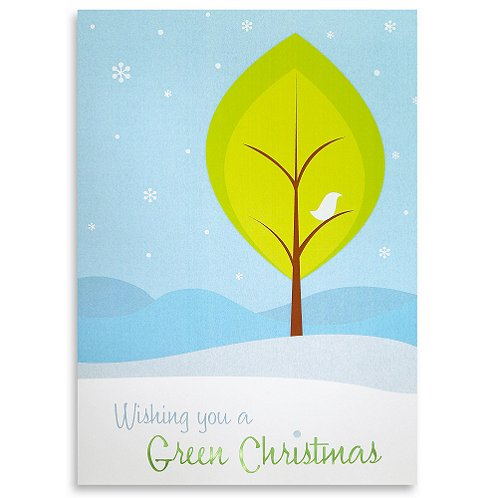 Holiday Greeting Card - Wishing you a GREEN Christmas