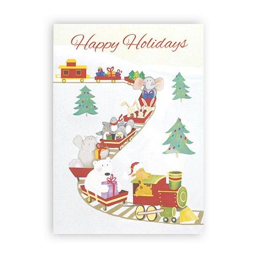 Holiday Greeting Card - Holiday Animals Train