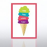Classic Celebrations Card - Happy Birthday Ice Cream Cone