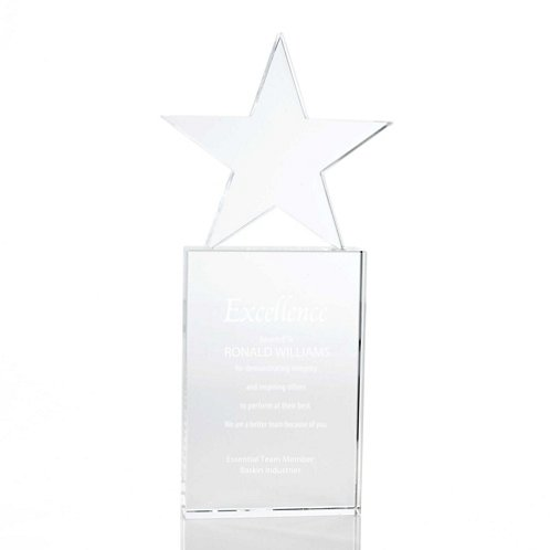 Crystal Trophy - Star - Large