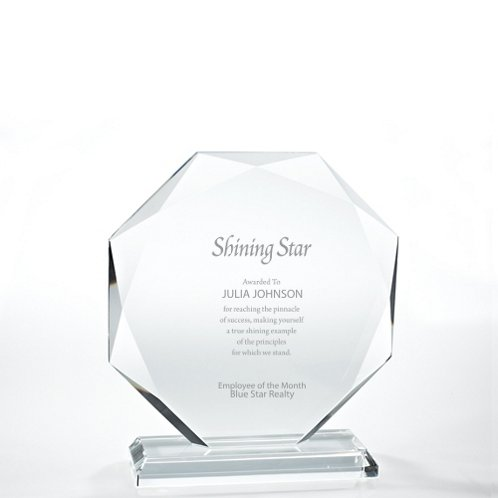 Beveled Edge Crystal Trophy - Large Round