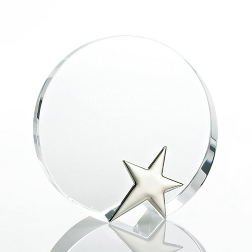 Silver Star Accent Trophy - Round