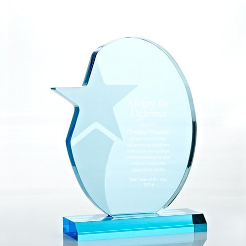Sky Blue Acrylic Trophy - Shooting Star