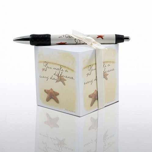 Note Cube & Pen Gift Set - Starfish: Making the Difference