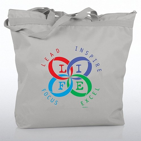 Zippered Tote Bag - L.I.F.E. - Lead, Inspire, Focus, Excel