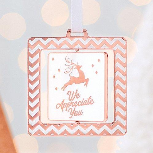 Spinner Ornament - We Appreciate You - Copper Reindeer