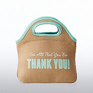 Burlap Cooler Tote - For All That You Do Thank You!