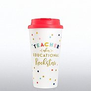 Cheerful Travel Mug - Teacher AKA Educational Rockstar