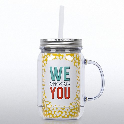 Mason Jar Tumbler W Handle Dots We Appreciate You At