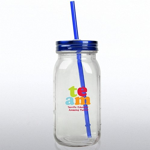 Glass Mason Jar - Education: TEAM