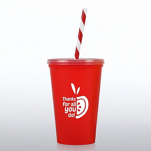 Value tumbler w candy striped straw thanks for all you Thanks for all you do gifts