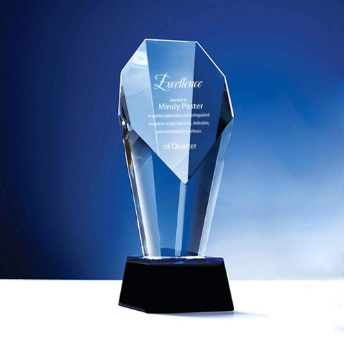 Spotlight Crystal Trophy with Blue Accent - Large
