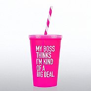 Value Tumbler w/ Candy Striped Straw - My Boss