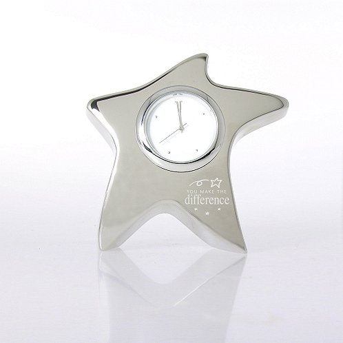 Silver Star Desk Clock - You Make the Difference