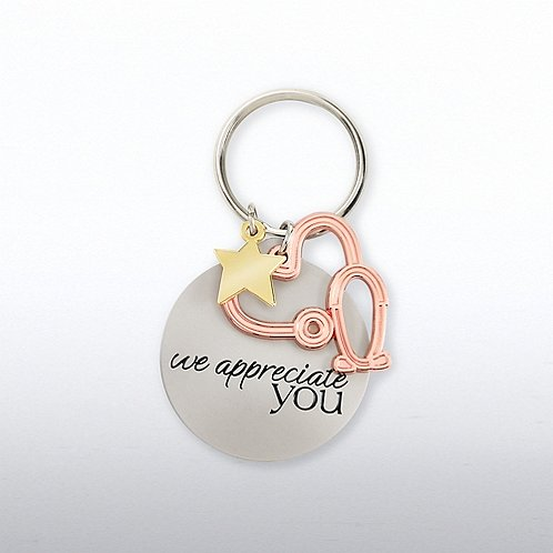 Charming Copper Key Chain - Stethoscope: We Appreciate You