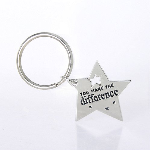 Nickel-Finish Key Chain - You Make the Difference Star