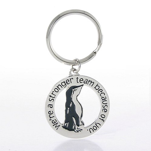 Nickel-Finish Key Chain - Penguin: We're a stronger team