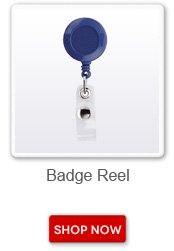 Badge reel. Shop now button
