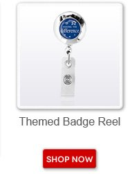 Themed badge reel. Shop now button