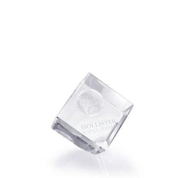 3D Jewel Cut Crystal Desk Paperweight - Globe Small
