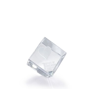 3D Jewel Cut Crystal Desk Paperweight - Heart Small