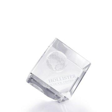 3D Jewel Cut Crystal Desk Paperweight - Globe Medium