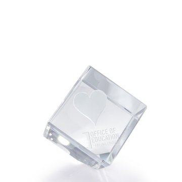 3D Jewel Cut Crystal Desk Paperweight - Heart Medium
