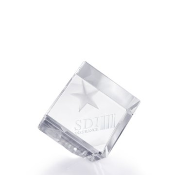 3D Jewel Cut Crystal Desk Paperweight - Star Medium