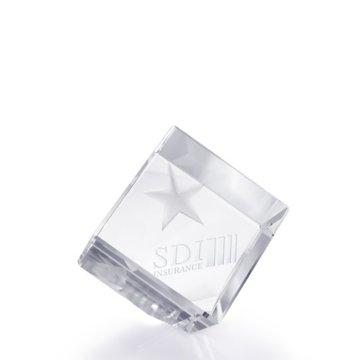 3D Jewel Cut Crystal Desk Paperweight - Star Medium