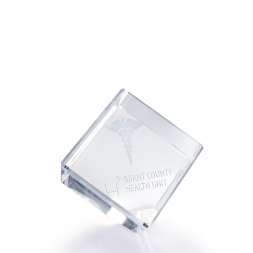 3D Jewel Cut Crystal Paperweight - Medical Caduceus Medium