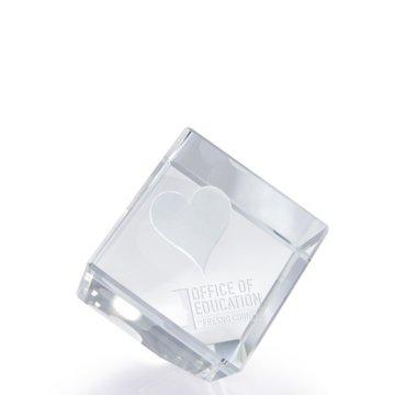 3D Jewel Cut Crystal Desk Paperweight - Heart Large
