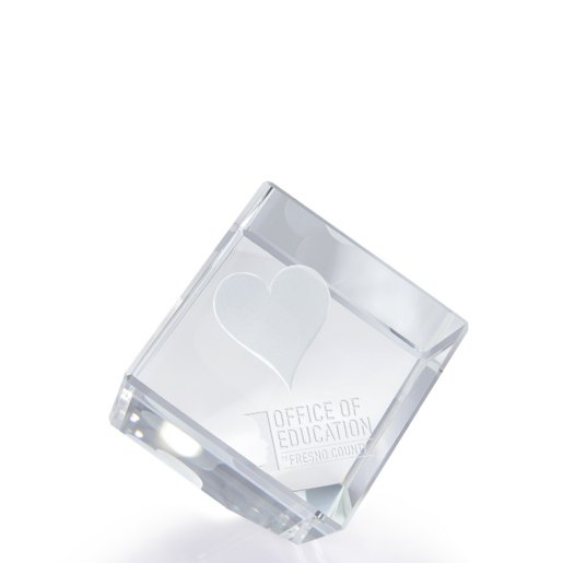 3D Jewel Cut Crystal Desk Paperweight - Heart Large