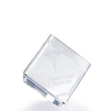 3D Jewel Cut Crystal Desk Paperweight-Medical Caduceus Large