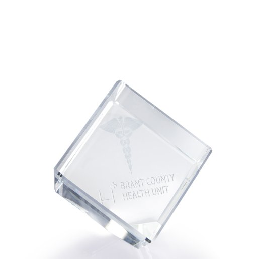 3D Jewel Cut Crystal Desk Paperweight-Medical Caduceus Large