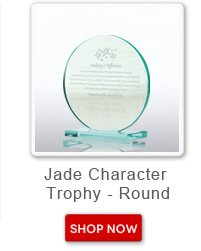 Jade character trophy - round. Shop now button