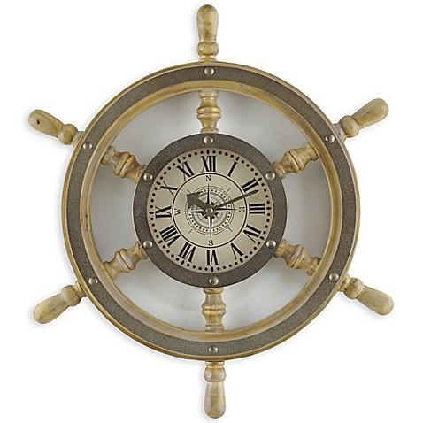 Sterling U0026 Nobleu0026trade; 18 Inch Wooden Shipu0026#39;s Wheel Wall Clock