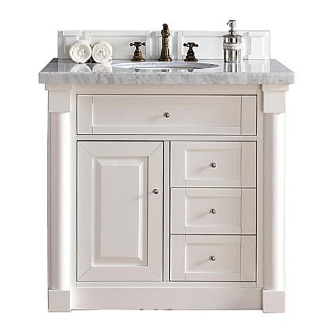 New haven 36 inch single vanity with absolute black rustic stone top in cottage white bed bath for 36 inch rustic bathroom vanity
