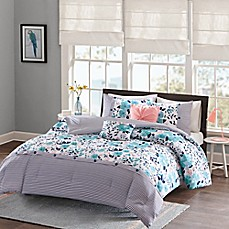 image of Intelligent Design Delle Reversible Comforter Set in Blue