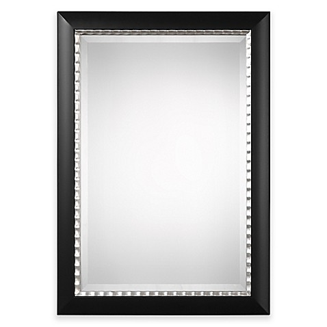 buy uttermost bauman 30 inch x 42 inch wall mirror in matte black from bed bath beyond. Black Bedroom Furniture Sets. Home Design Ideas