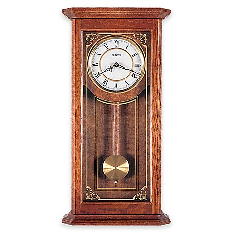 Bulova cirrus pendulum wall clock in oak bed bath beyond for Bulova pendulum wall clock