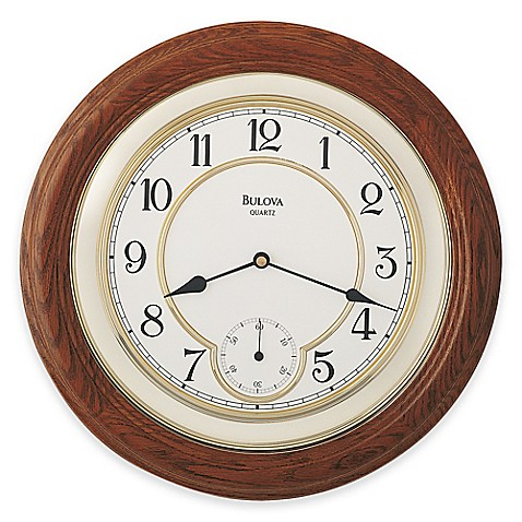Bulova William Round Wall Clock In Dark Oak Bed Bath