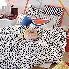 image of Scribble Ink Drop Comforter Set in Black
