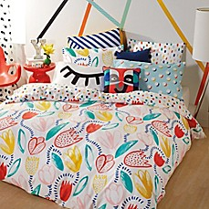 image of Scribble Tulip Comforter Set in Teal/Pink