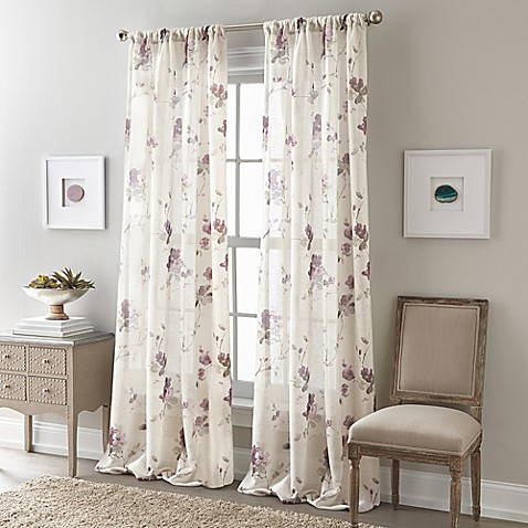 bedroom curtains bed bath and beyond buy zen floral 84 inch rod pocket semi sheer window 20240