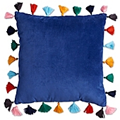 image of Velvet Tasseled 16-Inch Square Throw Pillow