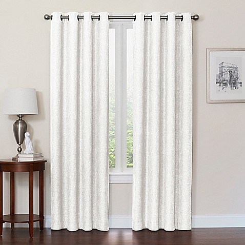 white bathroom curtains for windows buy quinn 54 inch grommet top 100 blackout window curtain 24618