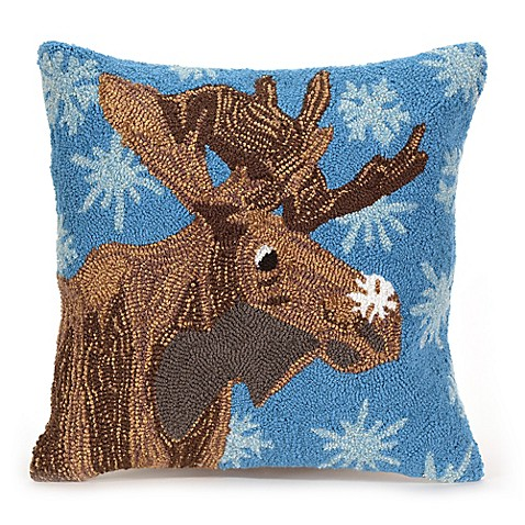 Buy Liora Manne Frontporch Moose and Snowflake Square Indoor/Outdoor Throw Pillow in Blue from ...