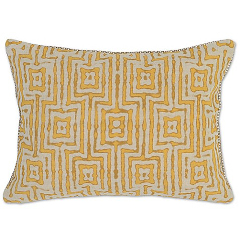 Buy Villa Home Paradise 14-Inch x 20-Inch Oblong Throw Pillow in Gold/Ivory from Bed Bath & Beyond