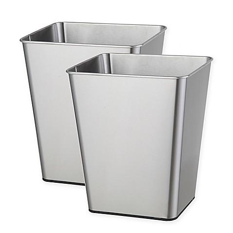 testrite open top stainless steel trash bin set of 2 bed bath beyond. Black Bedroom Furniture Sets. Home Design Ideas