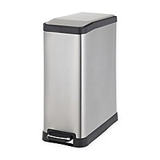 image of Testrite Rectangular 45-Liter Stainless Steel Step Trash Bin